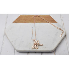Rose Gold Small Dragonfly Necklace
