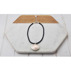 Black Leather Mixed Pendant Necklace