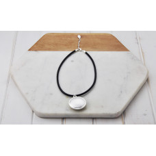 Black leather Silver Pendant Necklace