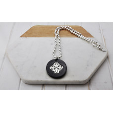 Silver Bead Black Acrylic Pendant Necklace