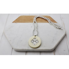 Silver Bead Cream Acrylic Pendant Necklace