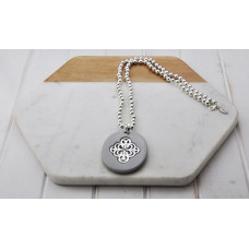 Silver Grey Acrylic Pendant Necklace