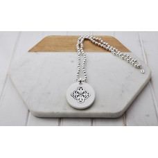Silver Bead White Acrylic Pendant Necklace