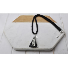 Black Bead Silver Tassel Necklace