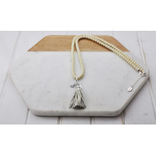 Cream Bead Cream Tassel Necklace
