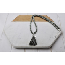 Grey Bead Grey Tassel Necklace