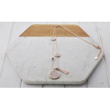 Rose Gold & Pink Tassel & Disc Necklace