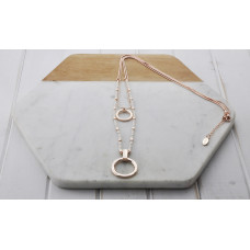 Rose Gold 2 Layer Bead & Ring Necklace