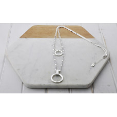 Silver 2 Layer Bead & Ring Necklace