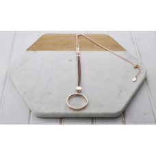 Rose Gold Khaki Leather Ring Necklace