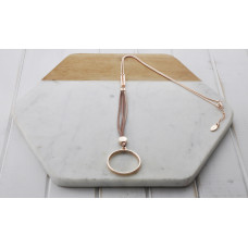 Rose Gold & Pink Leather Ring Necklace