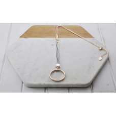 Rose Gold White Leather Ring Necklace