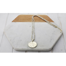 White/Gold Bead & Disc Necklace
