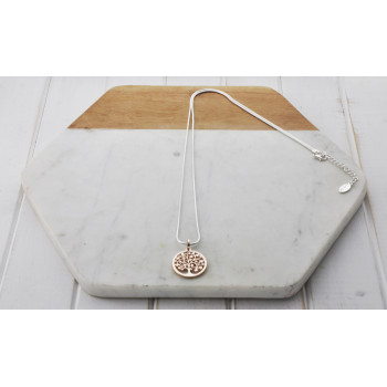Mixed Silver & Rose Gold Snake Tree Necklace