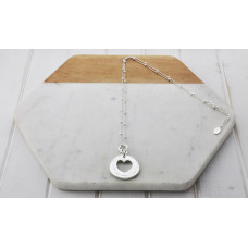 Matt Silver Heart In Circle Necklace