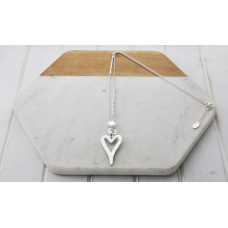 Silver Matt Heart Necklace