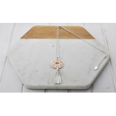 Silver & Rose Gold Mixed Lacey Pendant Necklace