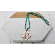 Turquoise Bead Gold Scroll Necklace