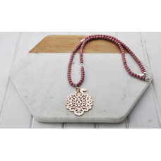 Pink Bead Rose Scroll Necklace