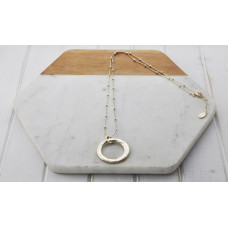 Gold Ball Chain  Ring Necklace