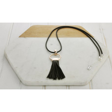Black Leather & Rose Tassel Necklace