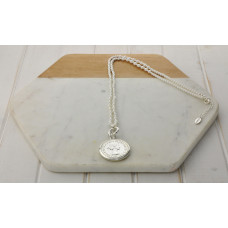White Bead Silver Coin Necklace