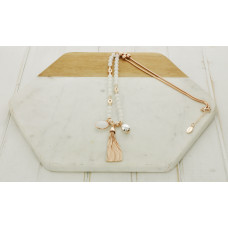 White Bead Tassel/Ball/Stone Necklace