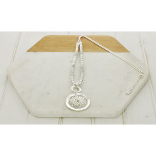 White Bead Silver Pendant Necklace