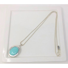 Silver Turquoise Oval Necklace