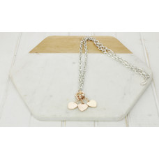 Silver Link Chain 3 Rose Heart Necklace