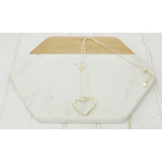 Gold Heart & Hollow Pendant Necklace