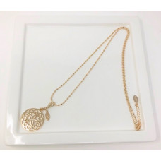Gold Rice Chain & Flower Scroll Necklace