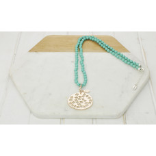 Turquoise Bead & Cut Out Pendant Necklace