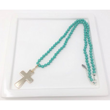 Turquoise Bead & Gold Cross Necklace