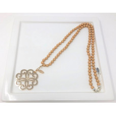 Cream Bead & Gold Flower Scroll Necklace