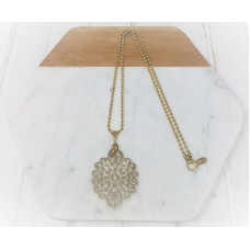 Gold Ball Chain & Large Scroll Necklace