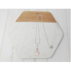 Silver Chain Rose Gold Disc Necklace