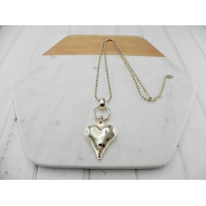 Gold Ball Chain with Gold Heart Necklace