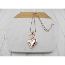 Rose Gold Ball Chain with Rose Gold Heart Necklace