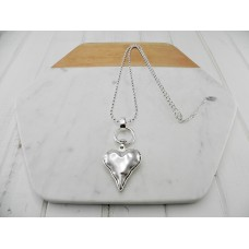 Silver Ball Chain with Silver Heart Necklace