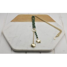 Emerald Green Stone Beads With Gold Heart and Star Necklace