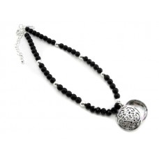 Short Black Bead with Locket Necklace