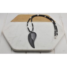Black Bead and Feather Necklace