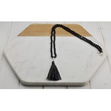 Black Semi-Precious Bead with Tassel Necklace
