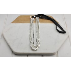 Chains with Black Leather Strap Necklace