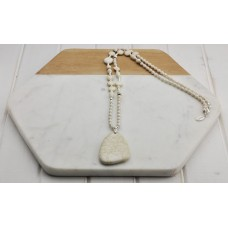 White Stone & Silver Beads w Stone Pendant Necklace