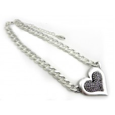 Short Silver Chain With Large Bling Heart Necklace