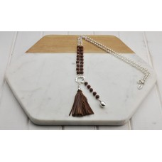 Silver with Brown Beads and Tassel Necklace