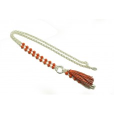 Silver with Coral Beads and Tassel Necklace
