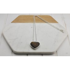 Silver Chain with Leather Stitched Heart Necklace